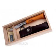 Folding knife Opinel Wooden slide top box  Carbon No 8 with sheath 815 8cm