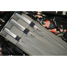Набор кухонных ножей Seki Kanetsugu Heptagon-Silver 3 шт 8007