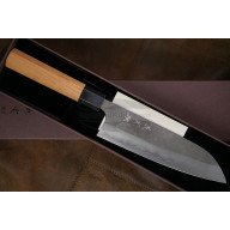 Santoku Japanese kitchen knife Yoshimi Kato Ginsan D-702CW 17cm