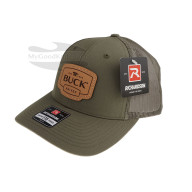 Cap Buck Trucker Green Leather Patch 89139