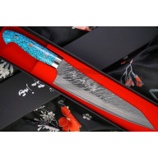 Cuchillo Japones Gyuto Yu Kurosaki Fujin SPG2 Hammered Damascus Turquoise ZTQ-210CH 21cm