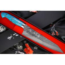 Gyuto Japanese kitchen knife Yu Kurosaki Fujin SPG2 Hammered Damascus Turquoise ZTQ-210CH 21cm