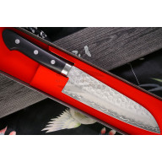 Японский кухонный нож Сантоку Ittetsu Black Pakka wood IWY-9002 17см