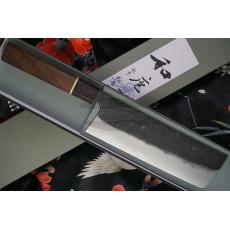 Nakiri Japanese kitchen knife Matsubara Hamono Shirogami Iron clad Walnut KT-009 18cm