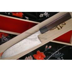 Santoku Japanese kitchen knife Takeshi Saji Damascus SG2 Iron Wood HB-5704 18cm