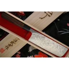 Nakiri Japanese kitchen knife Takeshi Saji Damascus SG2 Iron Wood HB-5705 17cm