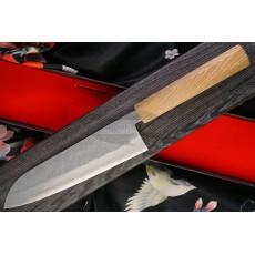 Japanilainen keittiöveitsi Santoku Kunio Masutani VG-1 Damascus Walnut M-2762 18cm