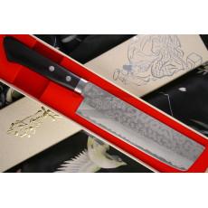 Nakiri Japanese kitchen knife Kunio Masutani VG-10 Damascus Pakka M-3243 17cm