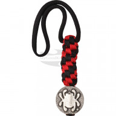 Helmi Spyderco Pewter Flat Bead w/Lanyard Black/Red CBEAD5LY