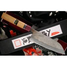 Japanilainen keittiöveitsi Santoku Goko Hamono Shirogami S/S Clad GHO-003 16.5cm