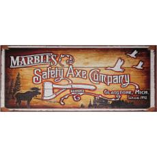 Letrero de madera contrachapada Marble's Safety Axe Company MR559