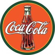 Жестяная табличка Coke Round 30s Bottle & Logo TSN1069