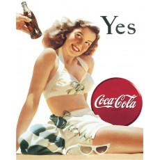 Cartel de chapa Coke Yes White Bathing Suit TSN1056