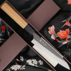 Japanese kitchen knife Yoshimi Kato Petty Aogami Super S/S clad Cherry D-901 15cm
