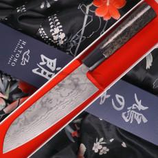 Santoku Japanese kitchen knife Kenshiro Hatono VG10 Damascus, Japanese lacquer KH-A 17cm