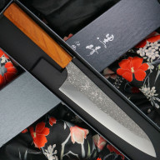 Японский кухонный нож Гьюто Yu Kurosaki Shizuku R2 Keyaki ZR-210CH 21см