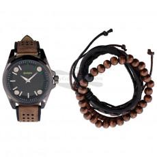 Часы Remington подарочный набор с браслетом, коричневый RMWST4