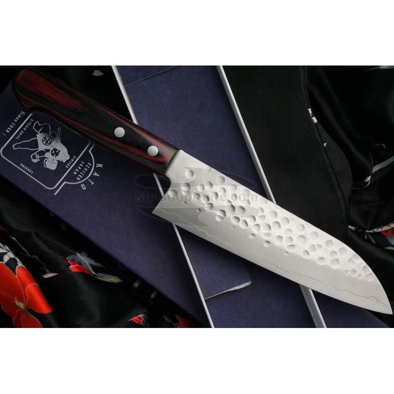 Японский кухонный нож Сантоку Hiroshi Kato Ginsan D1011R 16.5см - 1