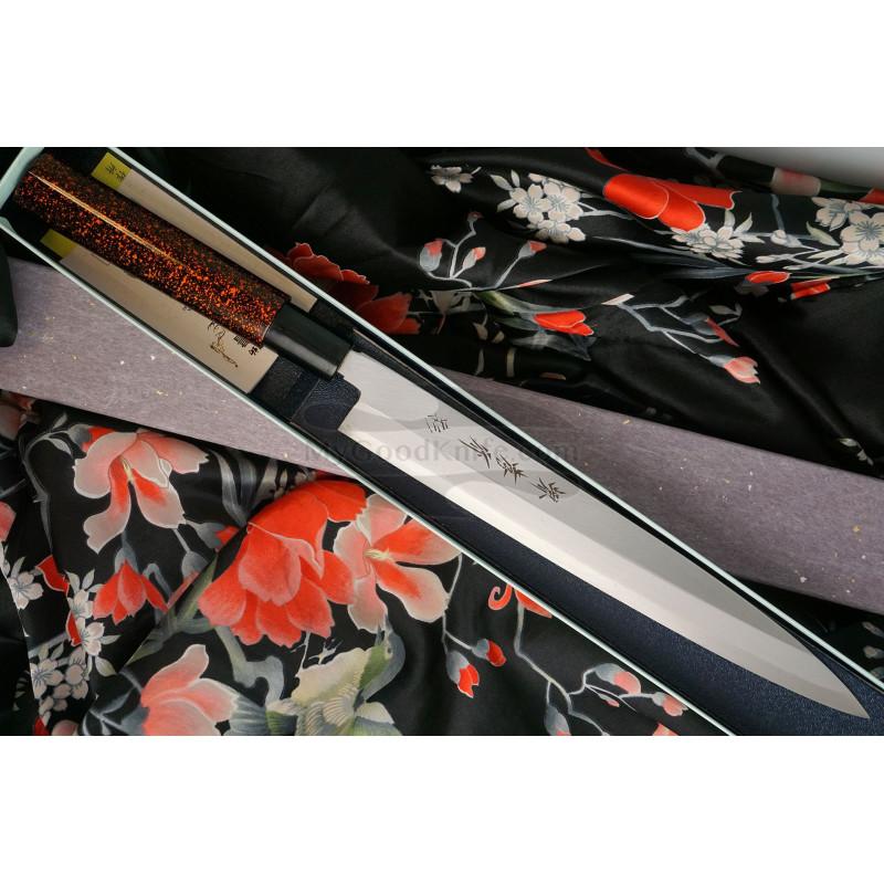 Yanagiba Japanese kitchen knife Sakai Takayuki Inox Black/Bronze Lacqured with Saya 04313K 24cm - 1