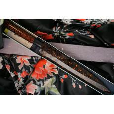 Yanagiba Japanese kitchen knife Sakai Takayuki Inox Black/Bronze Lacqured with Saya 04313K 24cm - 2