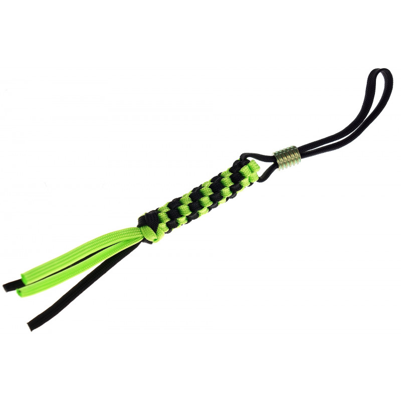 We Knife  Black/Green paracord lanyard with bead A-01A - 1