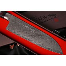 Японский кухонный нож Сантоку Hiroshi Kato Damascus VG10 D608 17.5см - 2