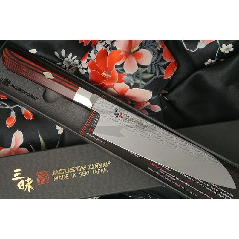 Santoku Japanese kitchen knife Mcusta Supreme Ripple Damascus TZ2-4003DR 18cm - 1