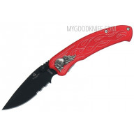 Serrated folding knife United Cutlery Nova Skull A/O Linerlock  combo edge, red UC2691S 8.9cm