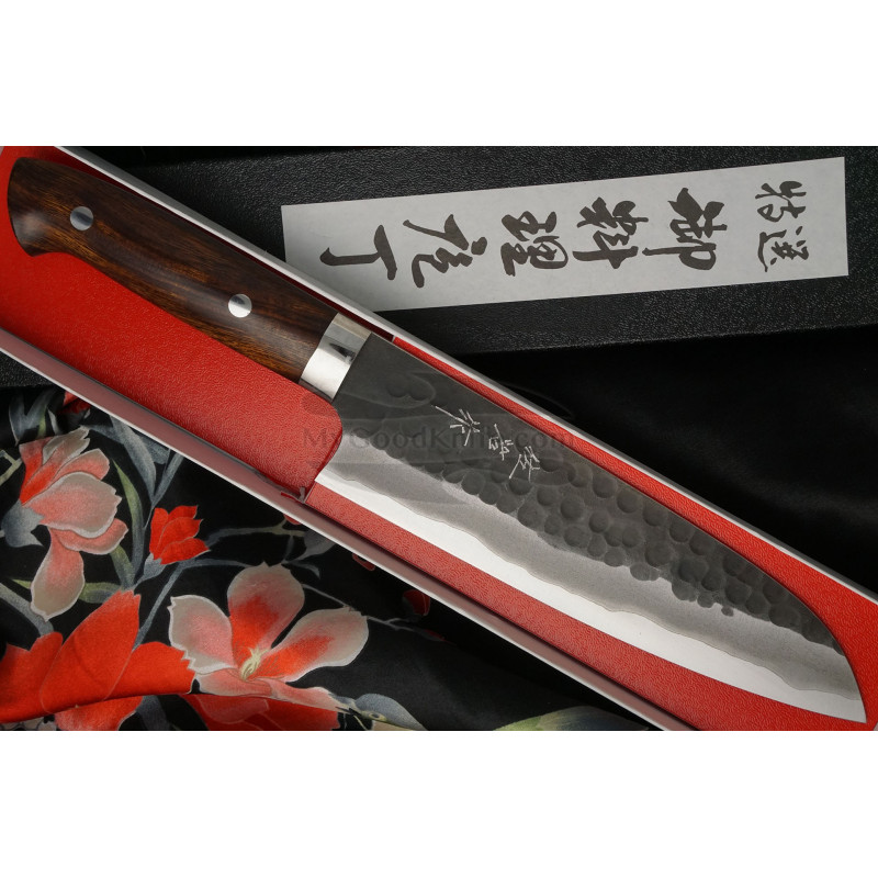 Santoku Japanese kitchen knife Takeshi Saji Iron Wood HG-3104 18cm - 1