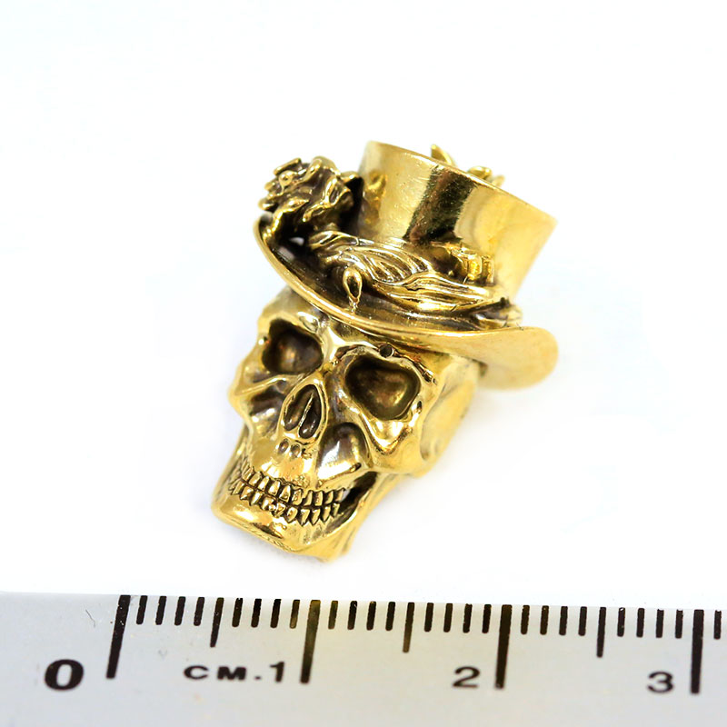 "Valokuva #2 Lanyard Bead ""Skull in hat"" (nickel silver)"