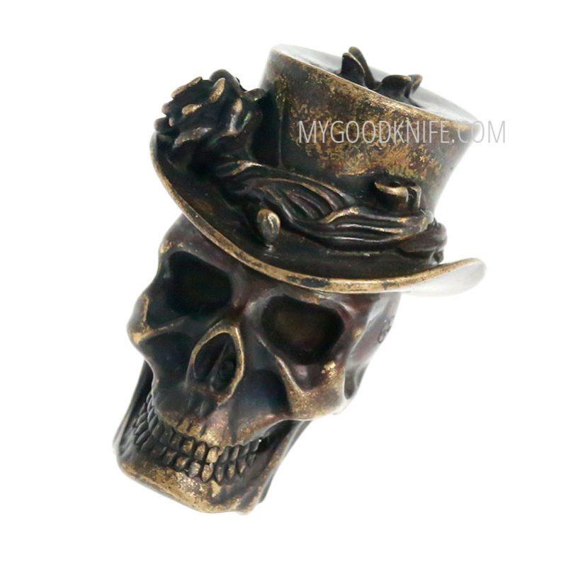 "Valokuva #1 Lanyard Bead ""Skull in hat"" (bronze)"