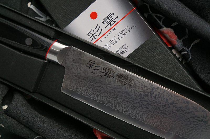 Фотография #2 Японский кухонный нож Сантоку Seki Kanetsugu Saiun 9003 17см