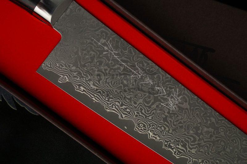 Фотография #3 Японский кухонный нож Гьюто Hiroshi Kato Black Nickel Damascus  D612 21см