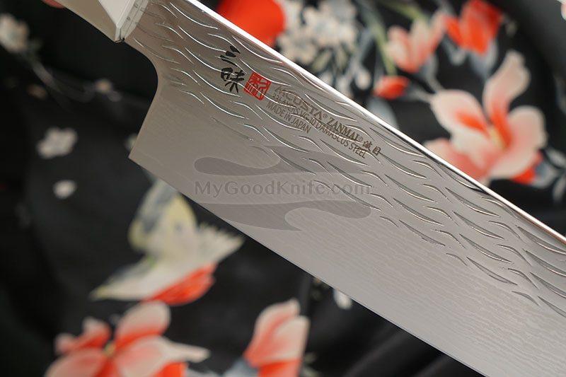 Photo #2 Santoku Japanese kitchen knife Mcusta Supreme Ripple Damascus TZ2-4003DR 18cm