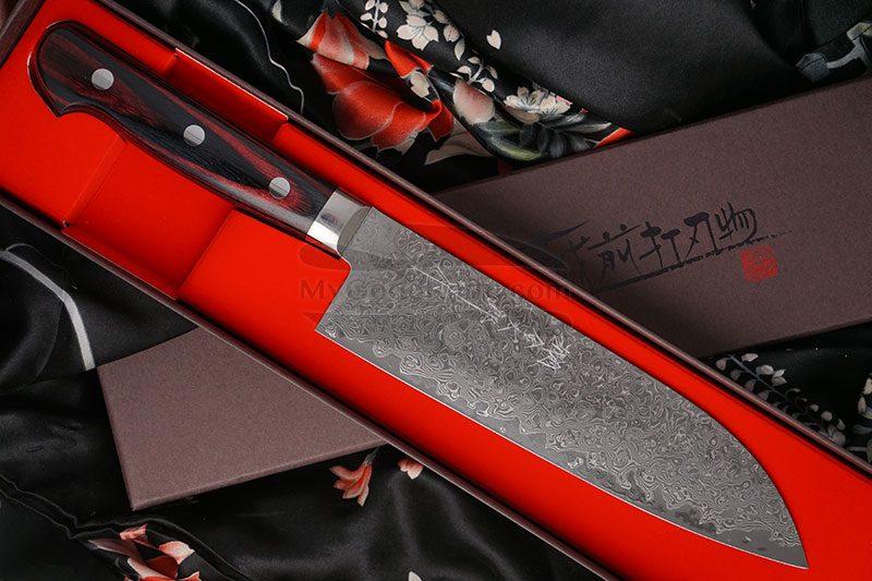 Фотография #1 Японский кухонный нож Сантоку Hiroshi Kato Damascus VG10 D608 17.5см