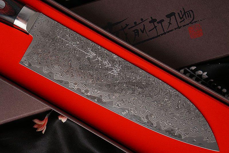 Фотография #2 Японский кухонный нож Сантоку Hiroshi Kato Damascus VG10 D608 17.5см