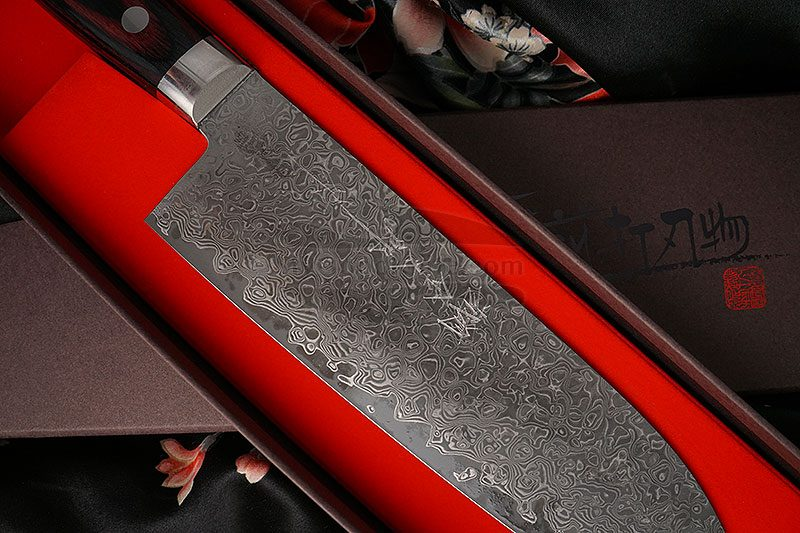 Photo #4 Santoku Japanese kitchen knife Hiroshi Kato Damascus VG10 D608 17.5cm