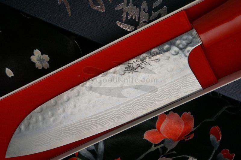 Photo #2 Santoku Japanese kitchen knife Kenshiro Hatono Red  lacquer HRS 16.5cm