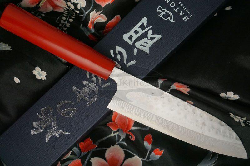 Photo #3 Santoku Japanese kitchen knife Kenshiro Hatono Red  lacquer HRS 16.5cm