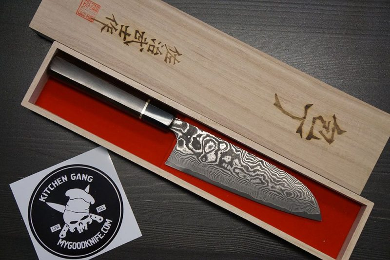 Photo #4 Takeshi Saji Santoku damascus, ebony wood, buffalo horn