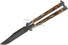 Folding knife bear & son damascus blade stag bone butterfly knife 517d