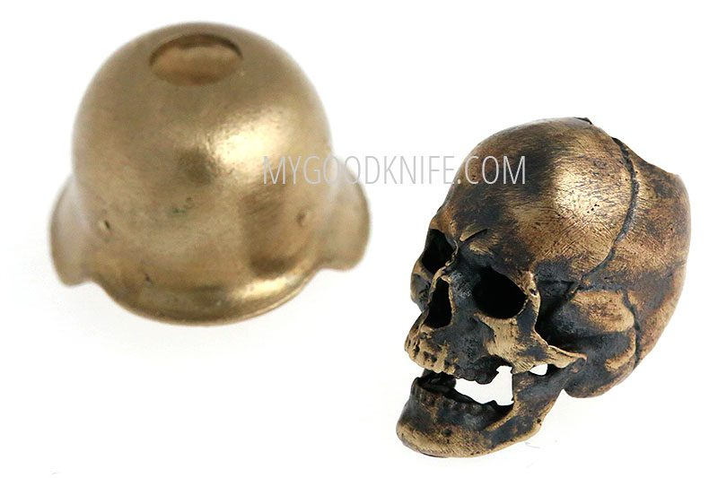 Photo #1 Lanyard Bead skull in hard hat, bronze