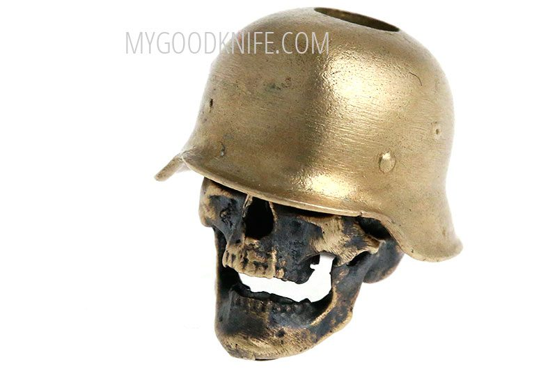 Valokuva #2 Lanyard Bead skull in hard hat, bronze