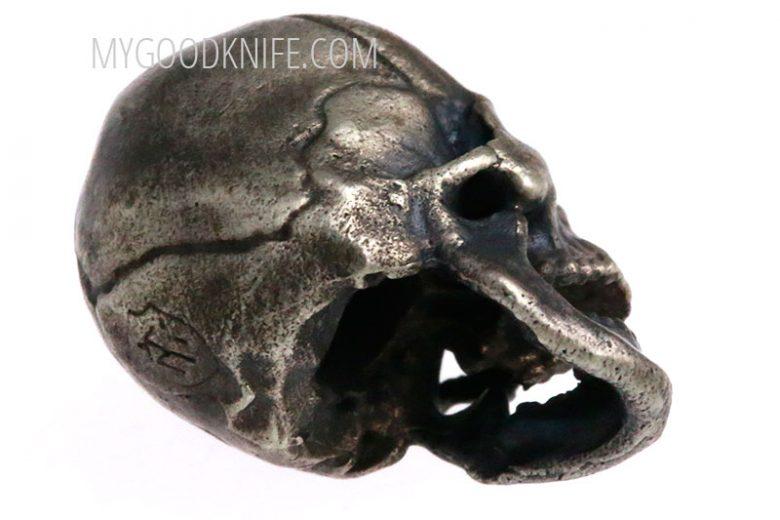 Valokuva #3 Lanyard Bead Skull, nickel silver