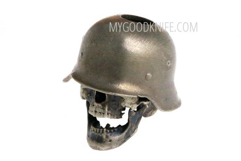 Photo #1 Lanyard Bead Skull in hard hat, nickel silver
