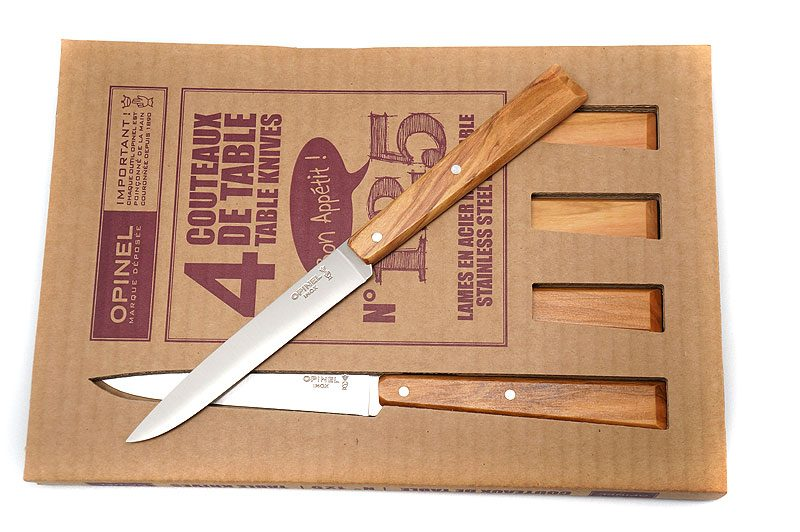 Фотография #5 Opinel Bon Appetit Esprit Sud set of 4 Olive wood Table knives  (001515)