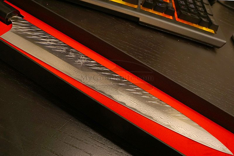 Photo #6 Sujihiki Japanese kitchen knife Yu Kurosaki Fujin VG-10 Damascus Series ZVD-270SL 27cm