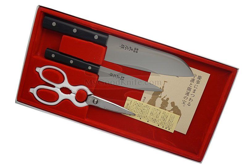 Фотография #1 Набор кухонных ножей Masahiro Серии LLS с ножницами  11534