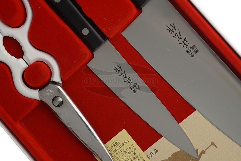 Фотография #3 Набор кухонных ножей Masahiro Серии LLS с ножницами  11534