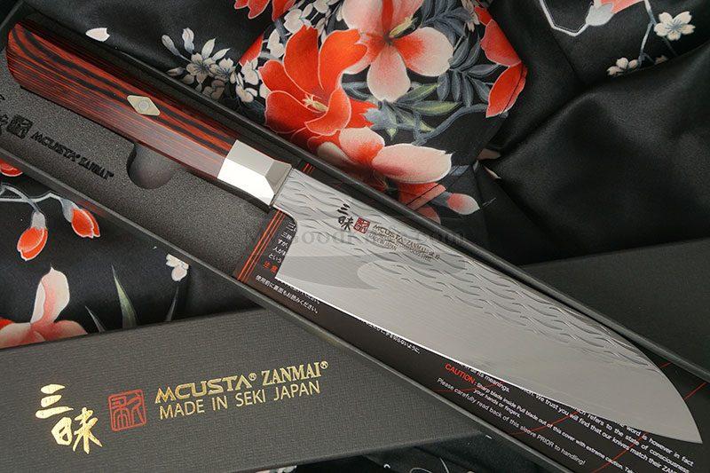 Photo #1 Santoku Japanese kitchen knife Mcusta Supreme Ripple Damascus TZ2-4003DR 18cm